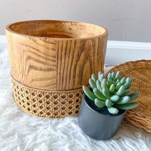 Vintage Faux Cane Wicker and Wooden Planter